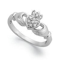 Deals on Macys Diamond Claddagh Ring in Sterling Silver 1/10 ct. t.w.