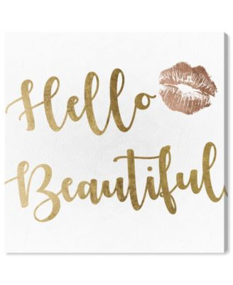Hello Beautiful Gold and Leather Canvas Art, 24