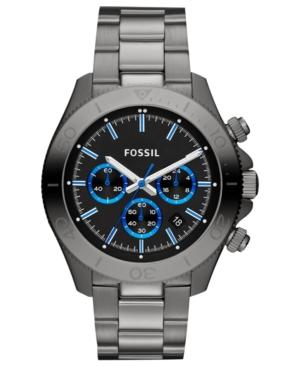Fossil Men's Chronograph Retro Traveler Gray-Tone Stainless Steel Bracelet Watch 45mm CH2869