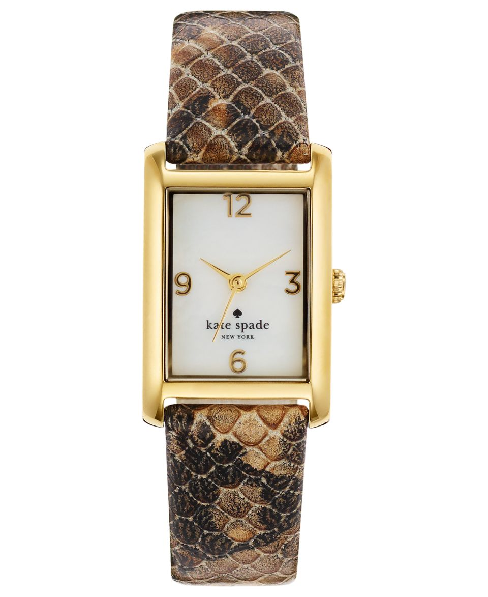 kate spade new york Watch, Womens Cooper Brown Snake Embossed Leather Strap 32x21mm 1YRU0291   Watches   Jewelry & Watches