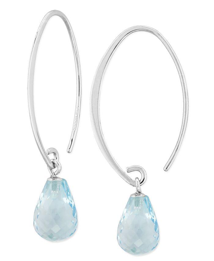 Macy's - Blue Topaz (8-1/3 ct. t.w) Briolette Drop Earring in 14k White Gold