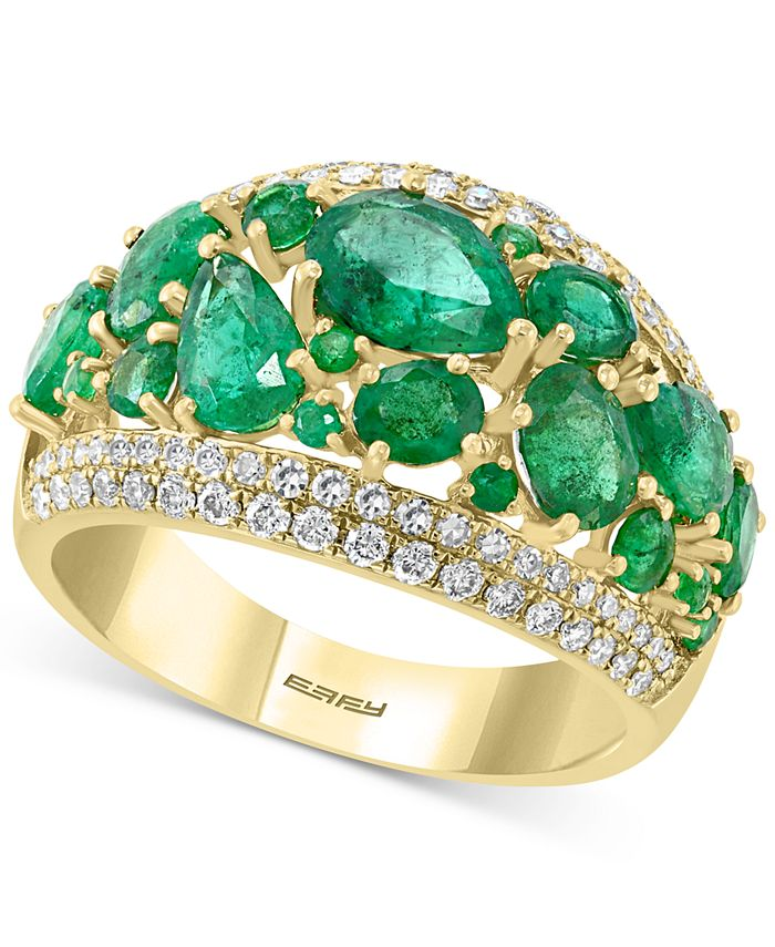 EFFY Collection - Emerald (3-1/10 ct. t.w.) & Diamond (3/8 ct. t.w.) Statement Ring in 14k Gold