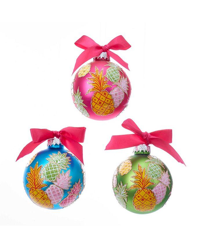 Kurt Adler - 80MM Glass Pineapple Pattern Ball Ornaments, 6 Piece Set
