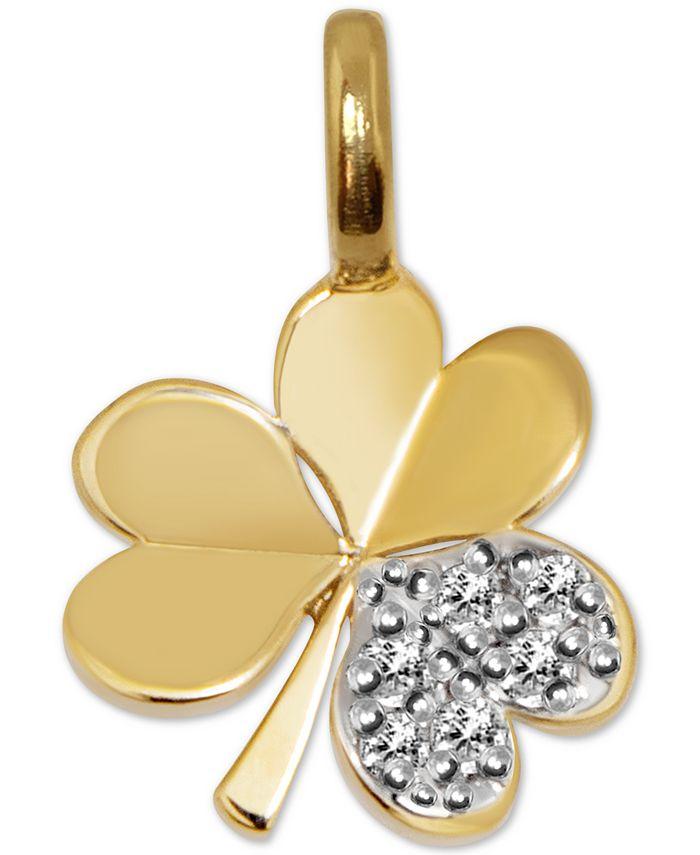 Alex Woo - Diamond Mini Shamrock Charm Pendant (1/20 ct. t.w.) in 14k Gold