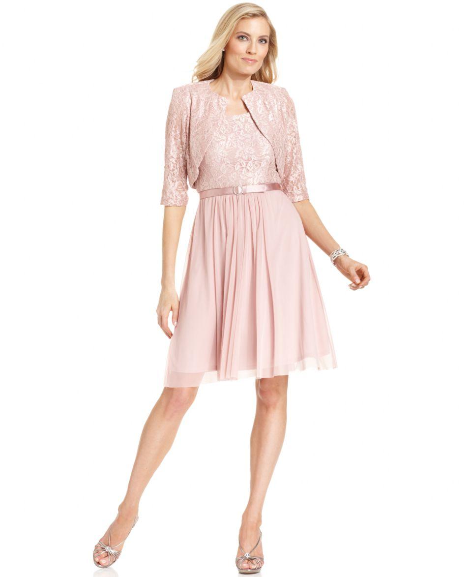 Jessica Howard Petite Dress and Jacket, Sleeveless Belted Lace   Dresses   Women