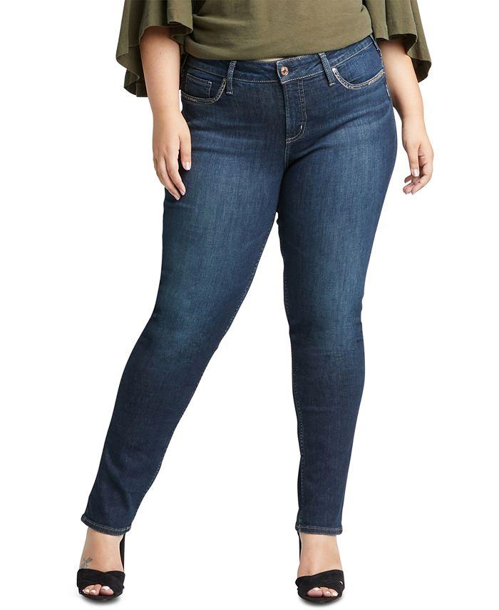 Silver Jeans Co. - Trendy Plus Size Elyse Curvy-Fit Straight-Leg Jeans