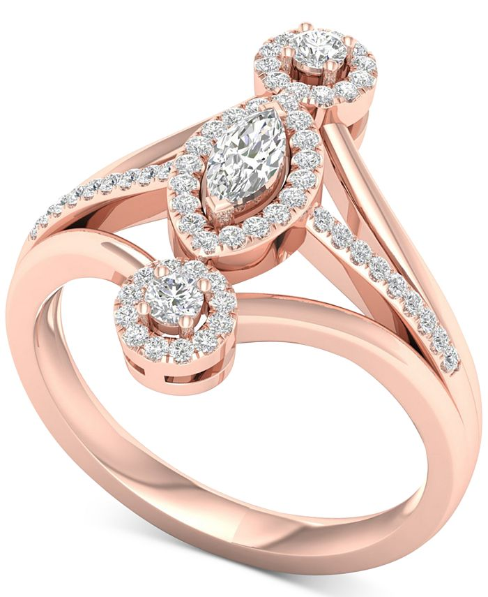 Macy's - Diamond Marquise Halo Statement Ring (1/2 ct. t.w.) in 14k Rose Gold