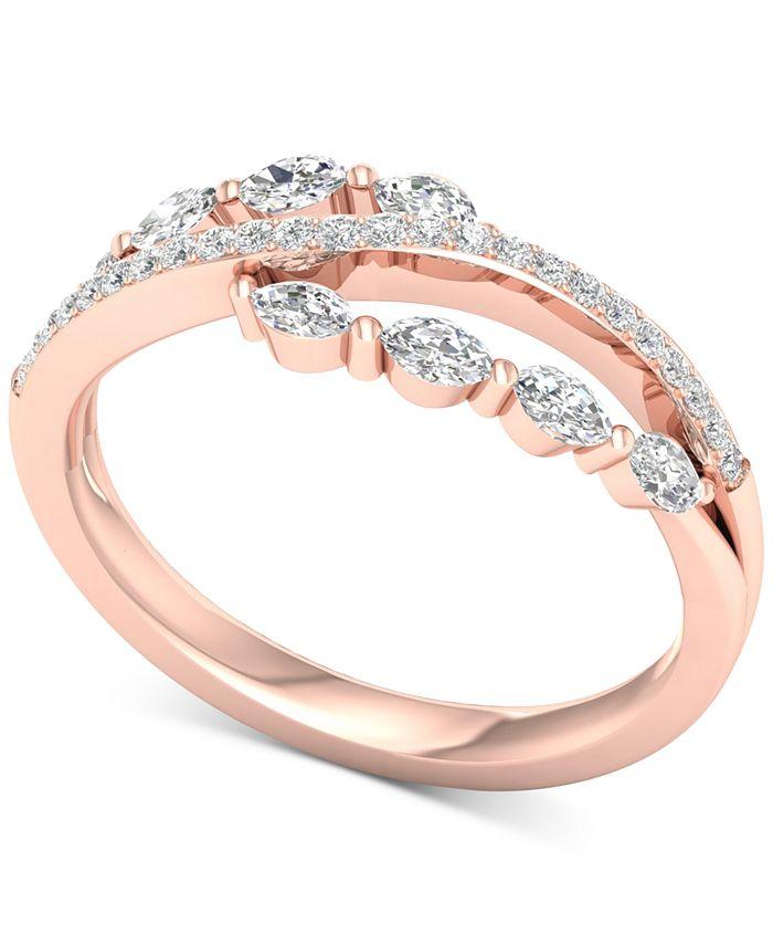 Macy's - Diamond Split Shank Statement Ring (1/2 ct. t.w.) in 14k Rose Gold