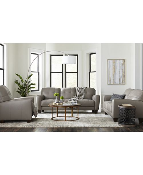 Furniture Kaleb Tufted Leather Sofa Collection, Created For Macy