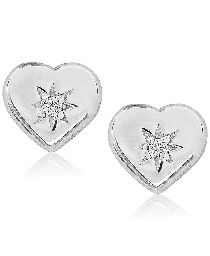 Rhona Sutton - Children's Diamond Accent Heart Stud Earrings in Sterling Silver
