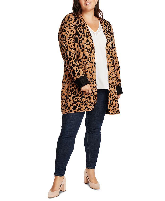 1.STATE - Trendy Plus Size Animal-Print Cardigan