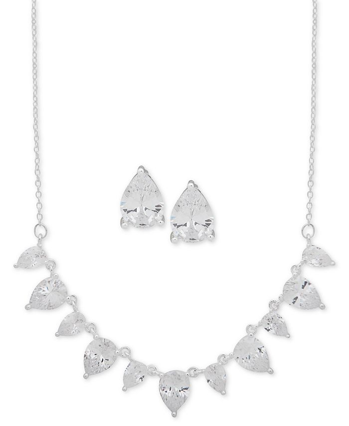 """Anne Klein - Silver-Tone Pear-Crystal Statement Necklace & Stud Earrings Set, 16"""" + 3"""" extender"""