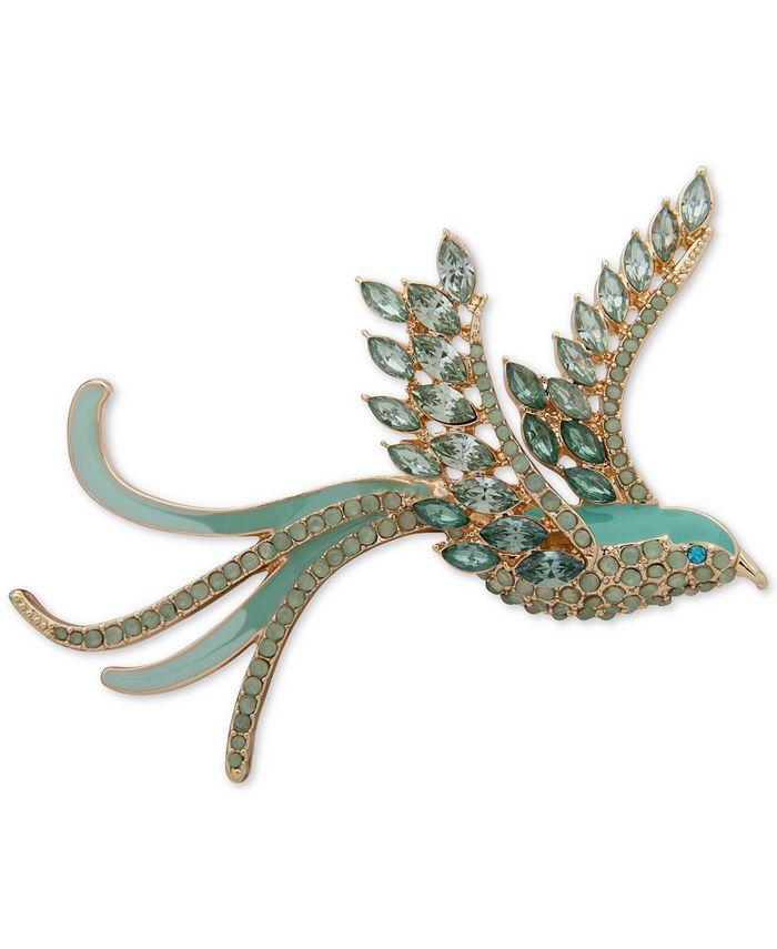 Anne Klein - Gold-Tone Crystal & Stone Flying Bird Pin