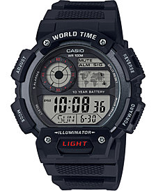 Casio Men's Digital Black Resin Strap Watch 45mm
