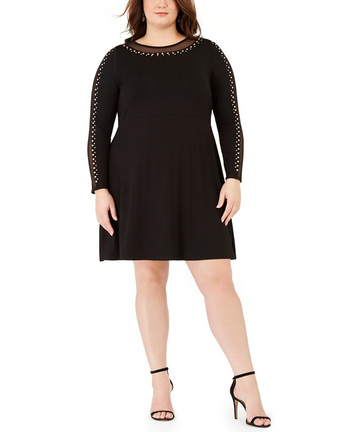 Belldini - Plus Size Studded Mesh-Trimmed Fit & Flare Dress