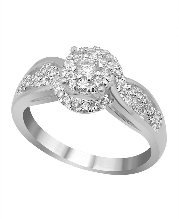 Macy's - Carat Swirl Diamond (1/2 ct. t.w.) Halo Engagement Ring in 14K White Gold