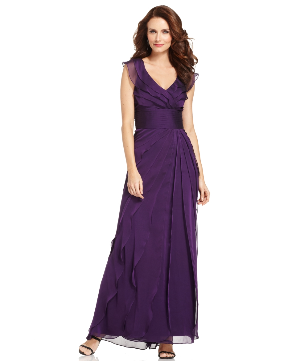 Adrianna Papell Tiered Evening Dress   Dresses   Women