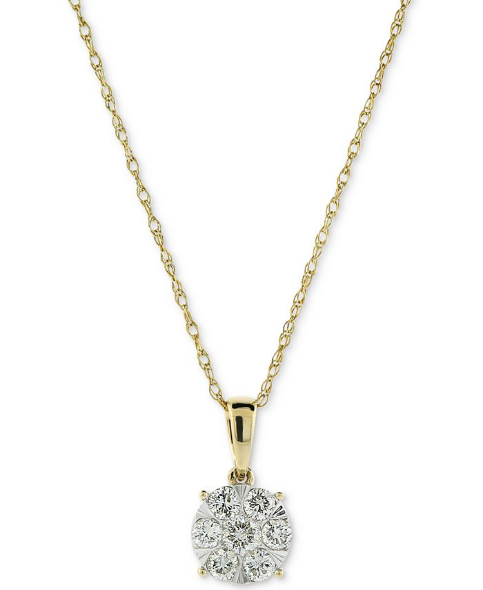 "Macy's - Diamond Cluster 18"" Pendant Necklace (1/2 ct. t.w.) in 14k Gold & 14k White Gold"