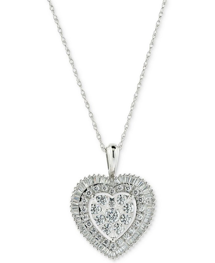 Macy's - Diamond Cluster Baguette Halo Heart Adjustable Pendant Necklace (1 ct. t.w.) in 14k White Gold
