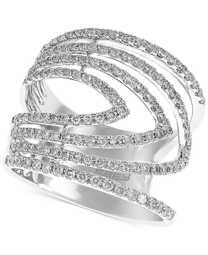 EFFY Collection - Diamond Chevron Multi-Row Statement Ring (7/8 ct. t.w.) in 14k White Gold
