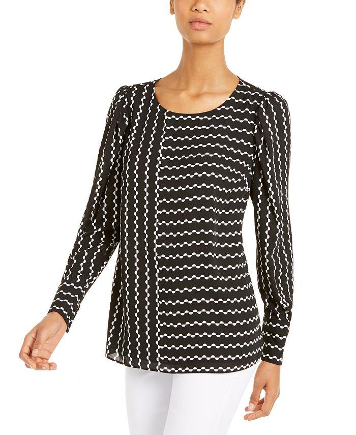 Alfani - Printed Puff-Sleeve Blouse, Created For Macy's