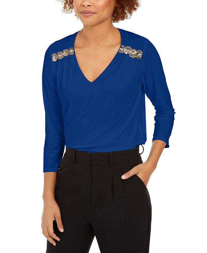 NY Collection - Petite Beaded-Trim Top