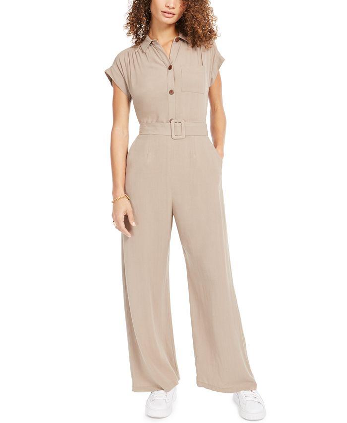 Monteau - Petite Button-Front Linen-Blend Wide-Leg Jumpsuit