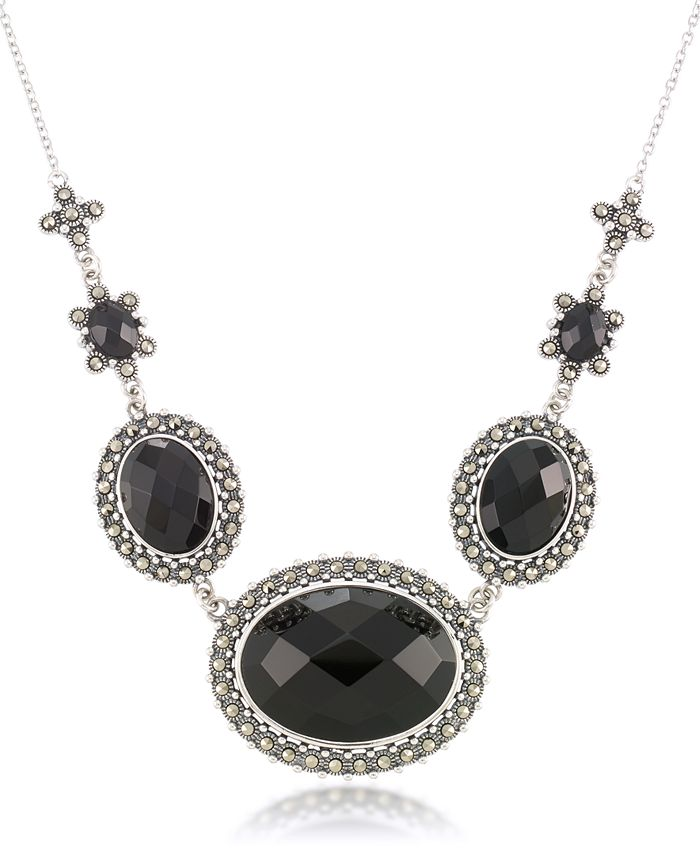 """Macy's - Marcasite and Faceted Onyx Oval Frontal 16""""+2"""" Extender Necklace in Sterling Silver"""