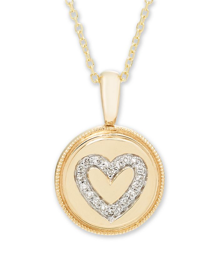 Macy's - Diamond (1/16 ct. t.w.) Heart Pendant in 14k Yellow or Rose Gold