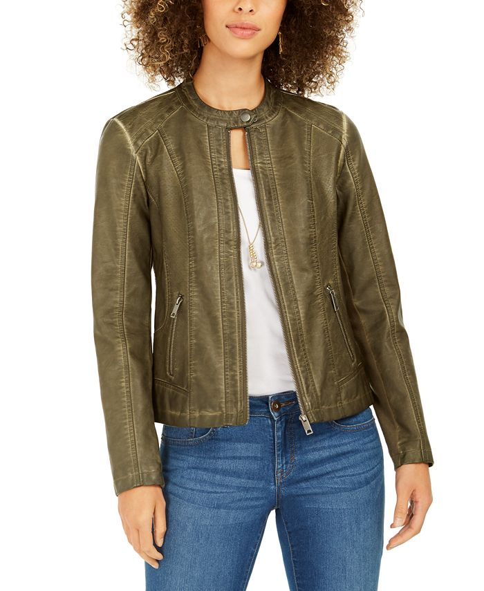 Style & Co - Perforated Garment-Dyed Faux-Leather Jacket
