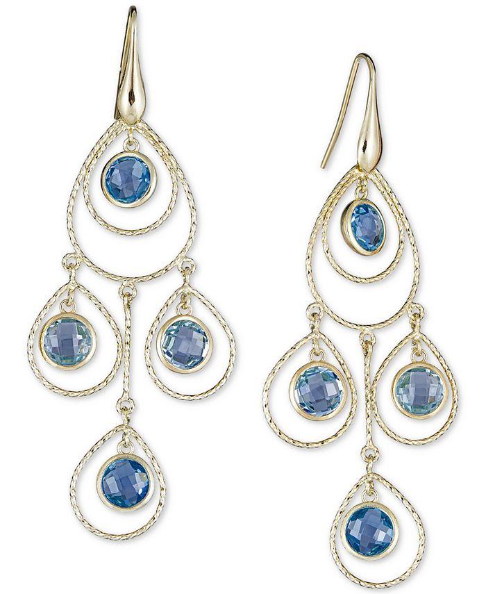 Macy's - Blue Topaz Chandelier Drop Earrings (8-3/4 ct. t.w.) in 14k Vermeil over Sterling Silver