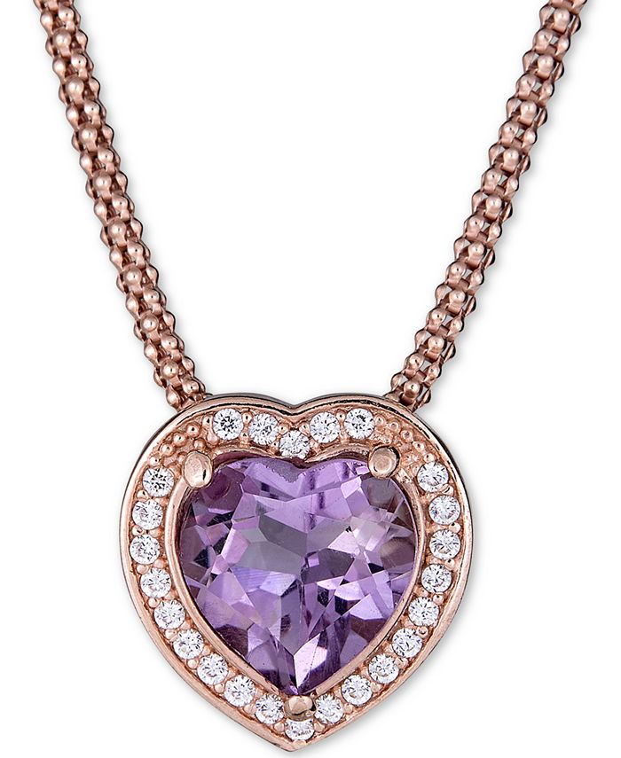"""Macy's - Amethyst (2-1/3 ct. t.w.) & White Topaz (1/3 ct. t.w.) Heart 17"""" Pendant Necklace in 14k Rose Vermeil over Sterling Silver"""