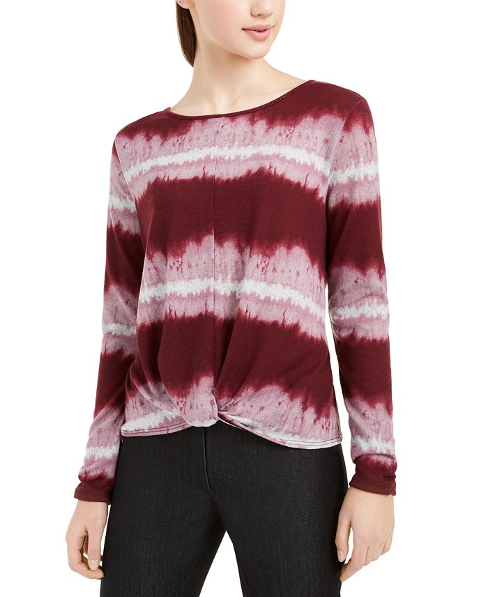 BCX - Juniors' Tie-Dyed Twist-Front Ruched-Sleeve Top