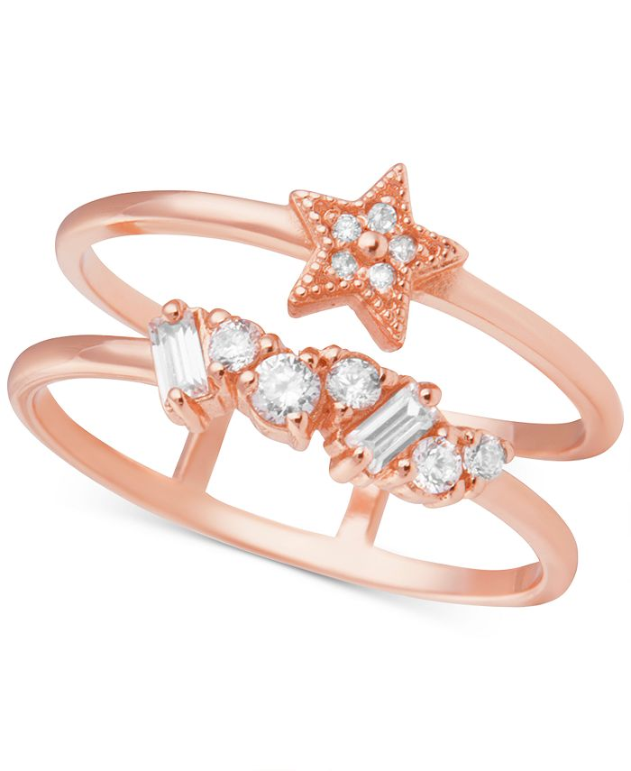 Olivia Burton - Swarovski Crystal Celestial Double Band Statement Ring in Rose Gold-Plated Brass