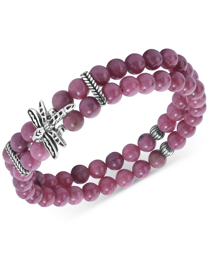 American West - Rhodonite Bead & Dragon Double Strand Stretch Bracelet in Sterling Silver