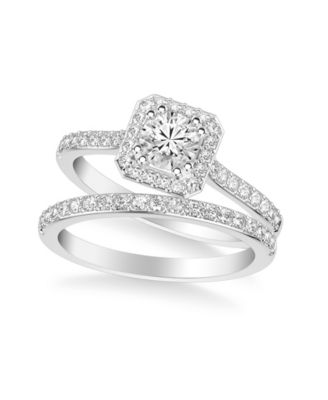 Diamond Halo Bridal Set (3/4 ct. t.w.) in 14k White, Rose or Yellow Gold