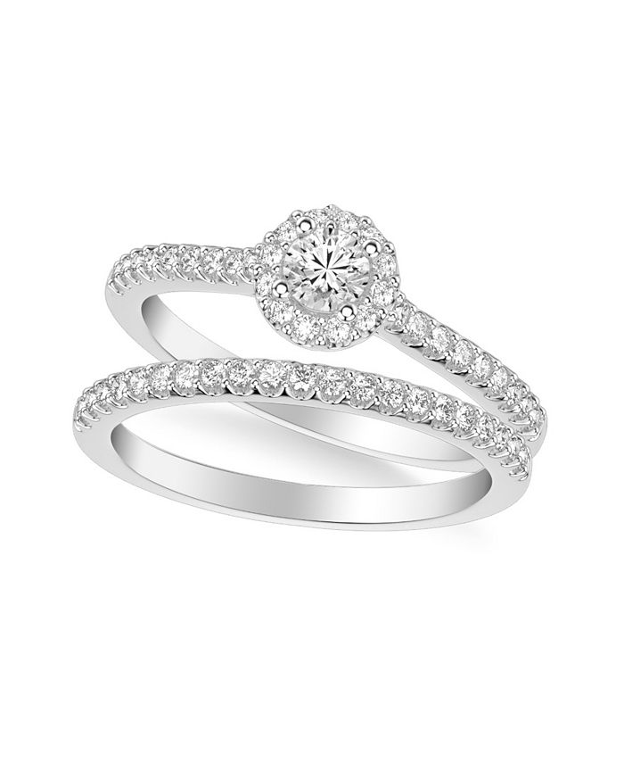 Macy's - Diamond Halo Bridal Set (3/4 ct. t.w.) in 14k White, Yellow or Rose Gold