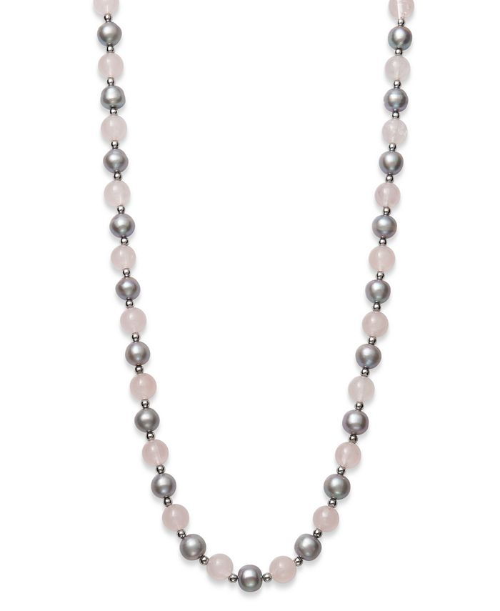 "Macy's - Gray Cultured Freshwater Pearl 7.5-8.5mm and Rose Quartz 8mm 18"" Necklace with Sterling Silver Beads"