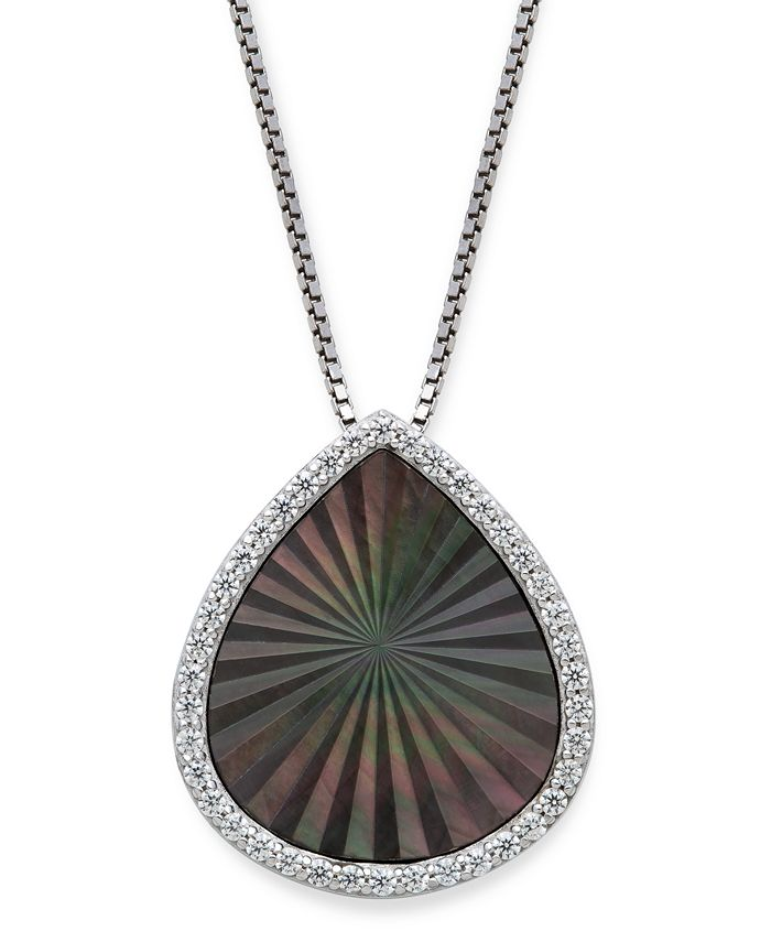 "Macy's - Black Mother of Pearl 15x13mm and Cubic Zirconia Pear Shaped Pendant with 18"" Chain in Sterling Silver"