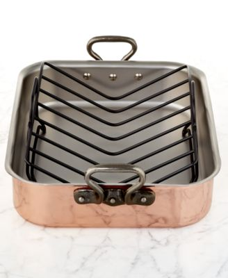 """Mauviel Tri-Ply Copper 15.7"""" x 11.8"""" Roaster with Rack"""