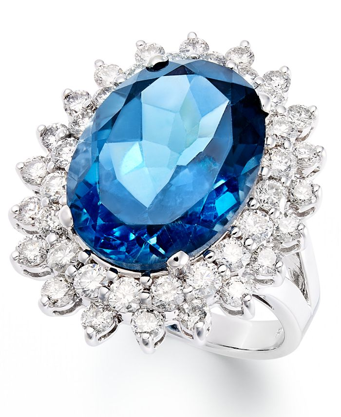 Macy's - 14k White Gold Ring, London Blue Topaz (12 ct. t.w.) and Diamond (1-5/8 ct. t.w.) Oval Ring