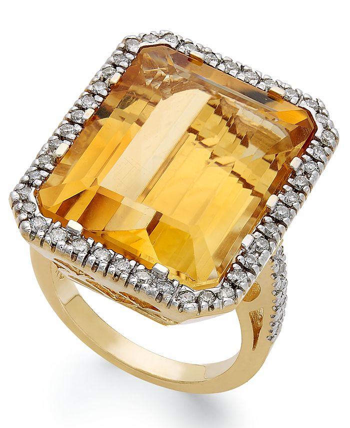 Macy's - 14k Gold Ring, Citrine (22 ct. t.w.) and Diamond (1/2 ct. t.w.) Rectangle Ring