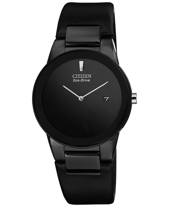Citizen - Men's Eco-Drive Axiom Black Leather Strap Watch 40mm AU1065-07E