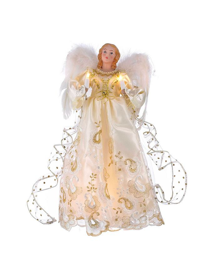 Kurt Adler - UL 10-Light 14-Inch Gold Angel Treetop