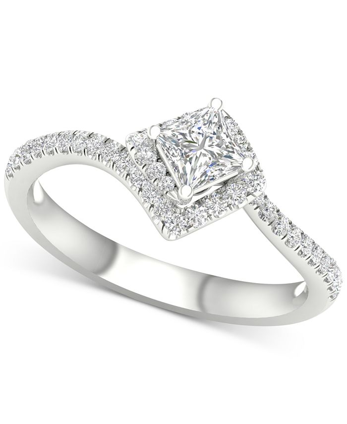 Macy's - Diamond Princess Twist Engagement Ring (3/4 ct. t.w.) in 14k White Gold