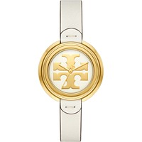 Deals on Tory Burch Womens The Miller Ivory Leather Strap Watch 36mm