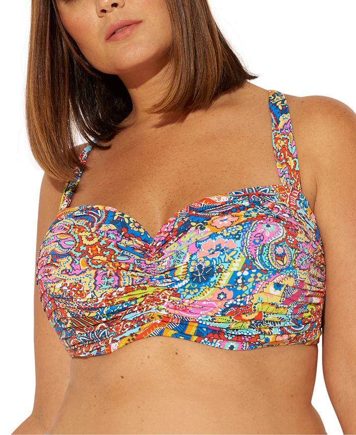 Bleu by Rod Beattie - Plus Size Groovy Baby Printed Underwire Bikini Top