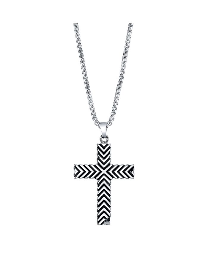 "He Rocks - Chevron Design Cross Pendant Necklace, 24"""
