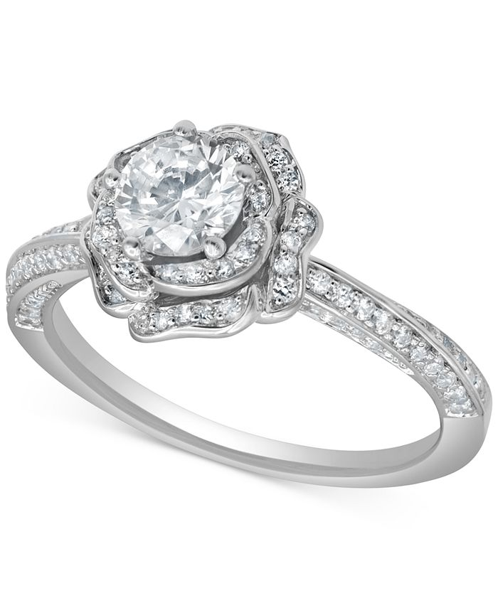 Marchesa - Certified Diamond Rose Engagement Ring (1 ct. t.w.) in 18k White Gold