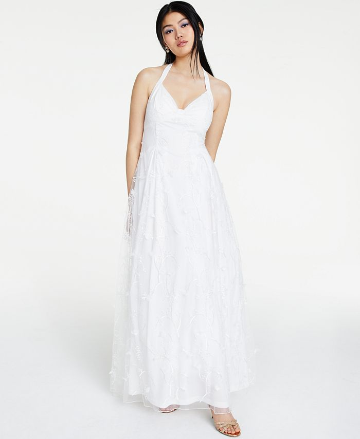 Jump - Juniors' Embroidered-Floral Halter Gown